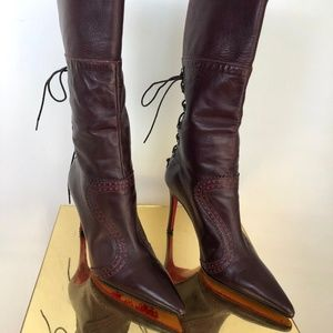 Christian Louboutin Leather Pointed Toe Boots